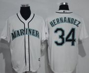 Wholesale Cheap Mariners #34 Felix Hernandez White New Cool Base Stitched MLB Jersey