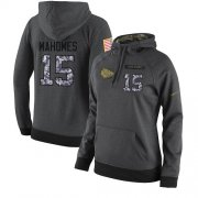 Wholesale Cheap NFL Women's Nike Kansas City Chiefs #15 Patrick Mahomes Stitched Black Anthracite Salute to Service Player Performance Hoodie