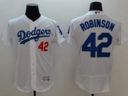 Wholesale Cheap Dodgers #42 Jackie Robinson White Flexbase Authentic Collection Stitched MLB Jersey