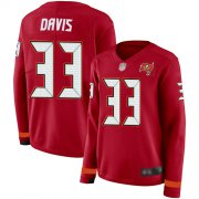 Wholesale Cheap Nike Buccaneers #33 Carlton Davis III Red Team Color Women's Stitched NFL Limited Therma Long Sleeve Jersey