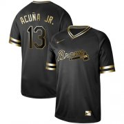 Wholesale Cheap Nike Braves #13 Ronald Acuna Jr. Black Gold Authentic Stitched MLB Jersey