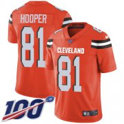 Wholesale Cheap Nike Browns #81 Austin Hooper Orange Alternate Youth Stitched NFL 100th Season Vapor Untouchable Limited Jersey