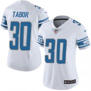 Wholesale Cheap Nike Lions #30 Teez Tabor White Women's Stitched NFL Vapor Untouchable Limited Jersey