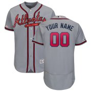 Wholesale Cheap Atlanta Braves Majestic Road 2019 Authentic Collection Flex Base Custom Jersey Gray