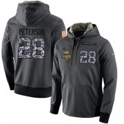 Wholesale Cheap NFL Men's Nike Minnesota Vikings #28 Adrian Peterson Stitched Black Anthracite Salute to Service Player Performance Hoodie