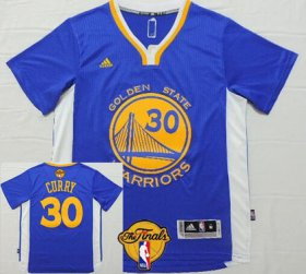 Wholesale Cheap Men\'s Golden State Warriors #30 Stephen Curry Blue Short-Sleeved White 2016 The NBA Finals Patch Jersey