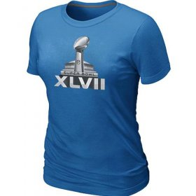 Wholesale Cheap Women\'s NFL Super Bowl XLVII Logo T-Shirt Light Blue
