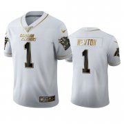 Wholesale Cheap Carolina Panthers #1 Cam Newton Men's Nike White Golden Edition Vapor Limited NFL 100 Jersey