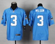 Wholesale Cheap Nike Seahawks #3 Russell Wilson Light Blue Men's Stitched NFL Elite Jersey