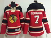 Wholesale Blackhawks #7 Brent Seabrook Red Sawyer Hooded Sweatshirt Stitched Youth NHL Jersey