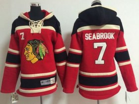 Wholesale Cheap Blackhawks #7 Brent Seabrook Red Sawyer Hooded Sweatshirt Stitched Youth NHL Jersey