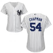 Wholesale Cheap Yankees #54 Aroldis Chapman White Strip Home Women's Stitched MLB Jersey