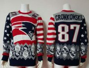 Wholesale Cheap Nike Patriots #87 Rob Gronkowski Red/Navy Blue Men's Ugly Sweater