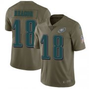 Wholesale Cheap Nike Eagles #18 Jalen Reagor Olive Youth Stitched NFL Limited 2017 Salute To Service Jersey