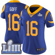 Wholesale Cheap Nike Rams #16 Jared Goff Royal Blue Alternate Super Bowl LIII Bound Women's Stitched NFL Vapor Untouchable Limited Jersey