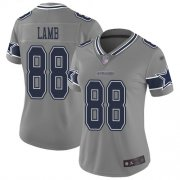 Wholesale Cheap Nike Cowboys #88 CeeDee Lamb Gray Women's Stitched NFL Limited Inverted Legend Jersey