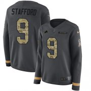 Wholesale Cheap Nike Lions #9 Matthew Stafford Anthracite Salute to Service Women's Stitched NFL Limited Therma Long Sleeve Jersey