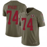 Wholesale Cheap Nike 49ers #74 Joe Staley Olive Youth Stitched NFL Limited 2017 Salute to Service Jersey