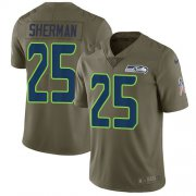 Wholesale Cheap Nike Seahawks #25 Richard Sherman Olive Youth Stitched NFL Limited 2017 Salute to Service Jersey
