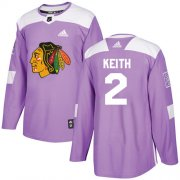 Wholesale Cheap Adidas Blackhawks #2 Duncan Keith Purple Authentic Fights Cancer Stitched Youth NHL Jersey