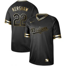 Wholesale Cheap Nike Dodgers #22 Clayton Kershaw Black Gold Authentic Stitched MLB Jersey