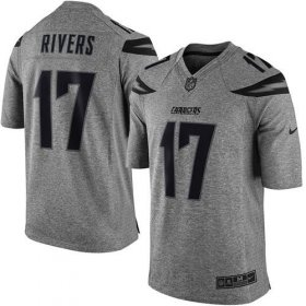 Wholesale Cheap Nike Chargers #17 Philip Rivers Gray Men\'s Stitched NFL Limited Gridiron Gray Jersey