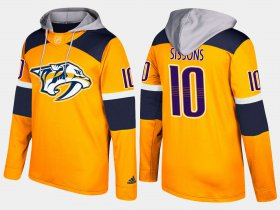 Wholesale Cheap Predators #10 Colton Sissons Yellow Name And Number Hoodie