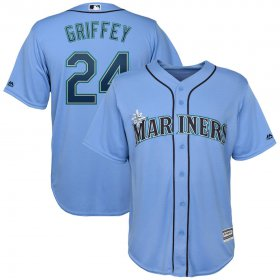 Wholesale Cheap Seattle Mariners #24 Ken Griffey Jr. Majestic Official Cool Base Player Jersey Blue