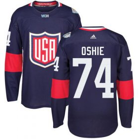 Wholesale Cheap Team USA #74 T. J. Oshie Navy Blue 2016 World Cup Stitched NHL Jersey