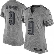 Wholesale Cheap Nike Lions #9 Matthew Stafford Gray Women's Stitched NFL Limited Gridiron Gray Jersey