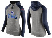 Wholesale Cheap Women's Nike Tennessee Titans Performance Hoodie Grey & Dark Blue_1