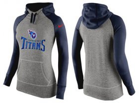 Wholesale Cheap Women\'s Nike Tennessee Titans Performance Hoodie Grey & Dark Blue_1