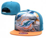 Wholesale Cheap Dolphins Team Logo Blue Yellow Adjustable Leather Hat TX