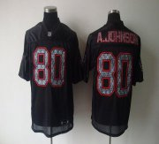 Wholesale Cheap Sideline Black United Texans #80 A.Johnson Black Stitched NFL Jersey