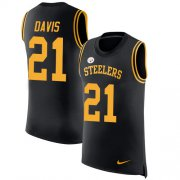Wholesale Cheap Nike Steelers #21 Sean Davis Black Team Color Men's Stitched NFL Limited Rush Tank Top Jersey