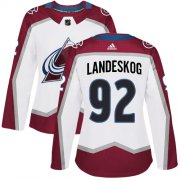 Wholesale Cheap Adidas Avalanche #92 Gabriel Landeskog White Road Authentic Women's Stitched NHL Jersey