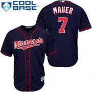 Wholesale Cheap Twins #7 Joe Mauer Stitched Navy Blue Cool Base Youth MLB Jersey