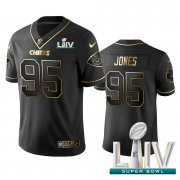 Wholesale Cheap Nike Chiefs #95 Chris Jones Black Golden Super Bowl LIV 2020 Limited Edition Stitched NFL Jersey