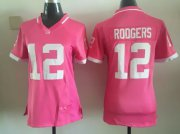Wholesale Cheap Nike Packers #12 Aaron Rodgers Pink Women's Stitched NFL Elite Bubble Gum Jersey