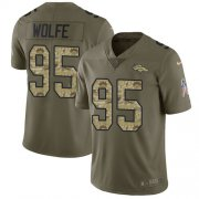 Wholesale Cheap Nike Broncos #95 Derek Wolfe Olive/Camo Youth Stitched NFL Limited 2017 Salute to Service Jersey