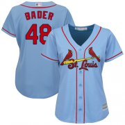 Wholesale Cheap Cardinals #48 Harrison Bader Light Blue Alternate Women's Stitched MLB Jersey