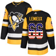 Wholesale Cheap Adidas Penguins #66 Mario Lemieux Black Home Authentic USA Flag Stitched Youth NHL Jersey