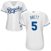 Wholesale Cheap Royals #5 George Brett White Home Women's Stitched MLB Jersey