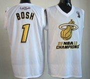 Wholesale Cheap Miami Heat #1 Chris Bosh 2012 NBA Finals Champions White With Gold Jersey