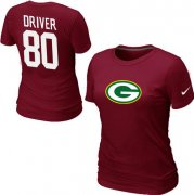 Wholesale Cheap Women's Nike Green Bay Packers #80 Donald Driver Name & Number T-Shirt Red
