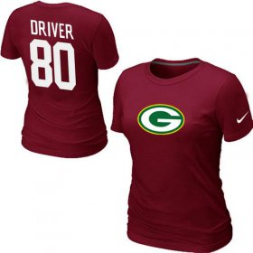 Wholesale Cheap Women\'s Nike Green Bay Packers #80 Donald Driver Name & Number T-Shirt Red