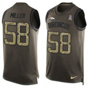 Wholesale Cheap Nike Broncos #58 Von Miller Green Men's Stitched NFL Limited Salute To Service Tank Top Jersey
