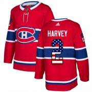 Wholesale Cheap Adidas Canadiens #2 Doug Harvey Red Home Authentic USA Flag Stitched NHL Jersey