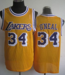 Wholesale Cheap Los Angeles Lakers #34 Shaquille O\'neal Yellow Swingman Throwback Jersey
