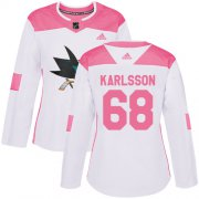 Wholesale Cheap Adidas Sharks #68 Melker Karlsson White/Pink Authentic Fashion Women's Stitched NHL Jersey